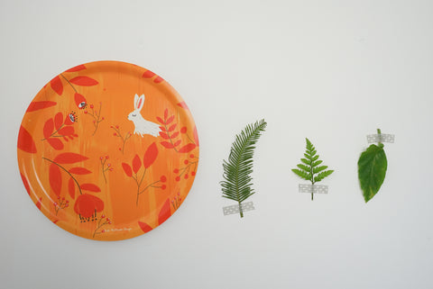 Round Birchwood Tray - Autumn Rabbit (ONLINE EXCUSIVE SALE)
