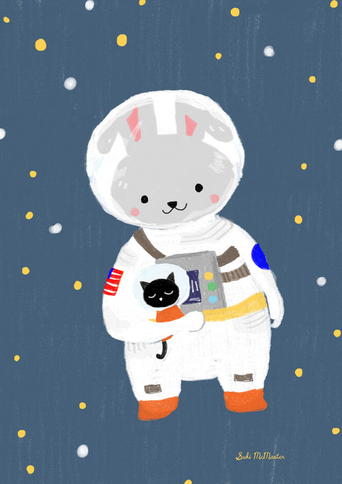 Wall Print - Rabbit and Cat Astronaut