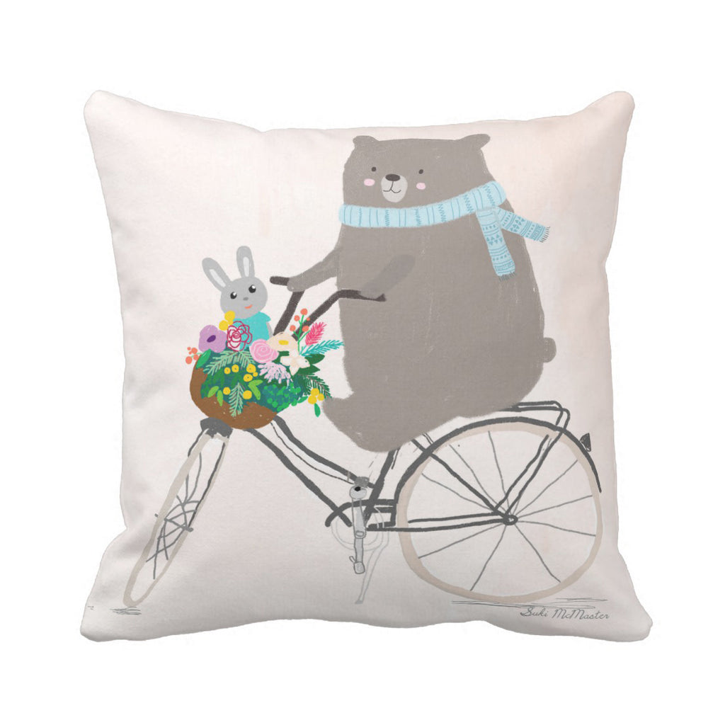 Cushion cover - Bear On Bike