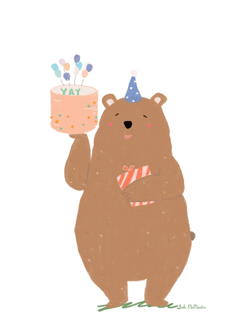 Birthday Bear-  Blank Card