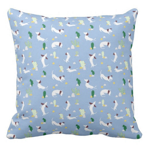 Floor Cushion Cover - dog and cactus (blue)