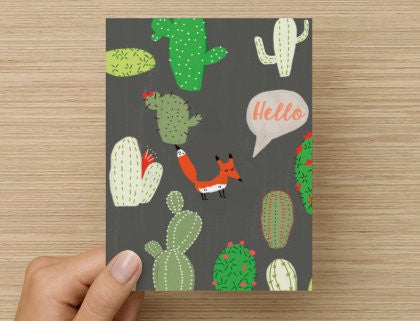 Hello Fox - -  Blank Card
