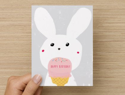 Birthday Bunny- -  Blank Card