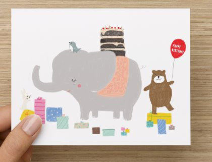 Animals Birthday Party-  Blank Card