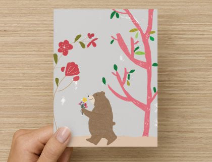 Bear with flowers - -  Blank Card