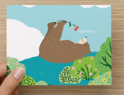 Bear on back - -  Blank Card