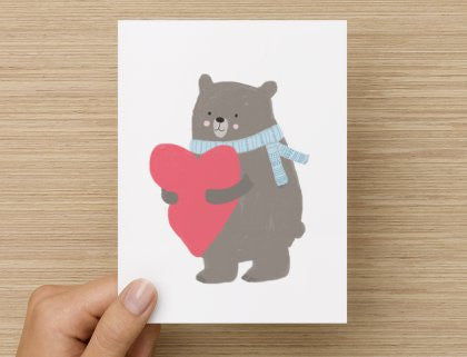 Bear with heart - -  Blank Card