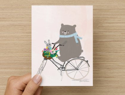 Bear on bike - -  Blank Card