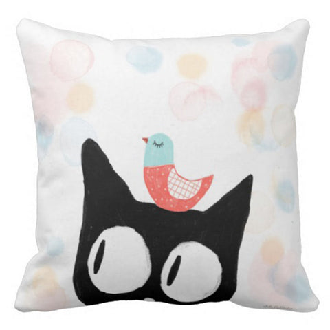 Cushion cover - Cat and bird