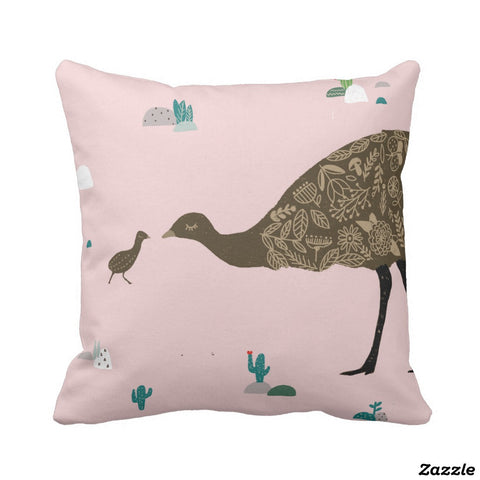 Cushion cover - Emu mum and baby - pink