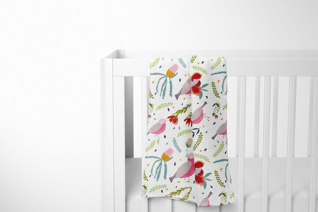 Extra Large Baby Bamboo Muslin Swaddle  - Cockatoo Design
