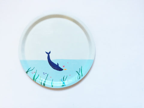 Round Birchwood Tray - Whale (ONLINE EXCUSIVE SALE)