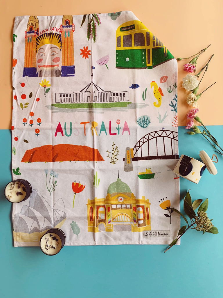 Tea Towel - Melbourne Australia (Suki McMaster x Gibson Gifts Collaboration)