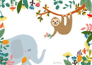 Elephant and Sloth - Blank Card