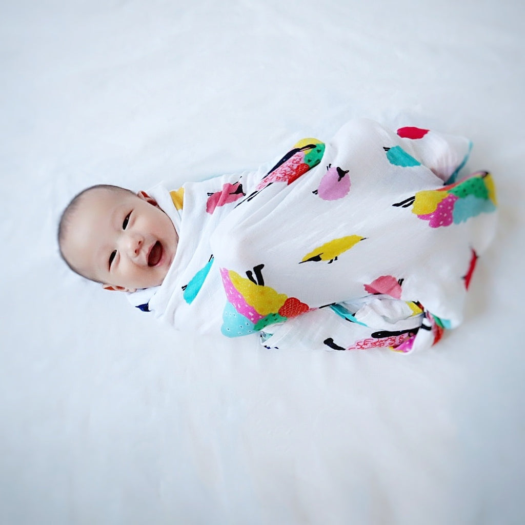 Extra Large Bamboo Baby Muslin - sheep design