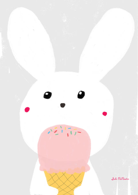 Wall Print - Rabbit and Ice Cream