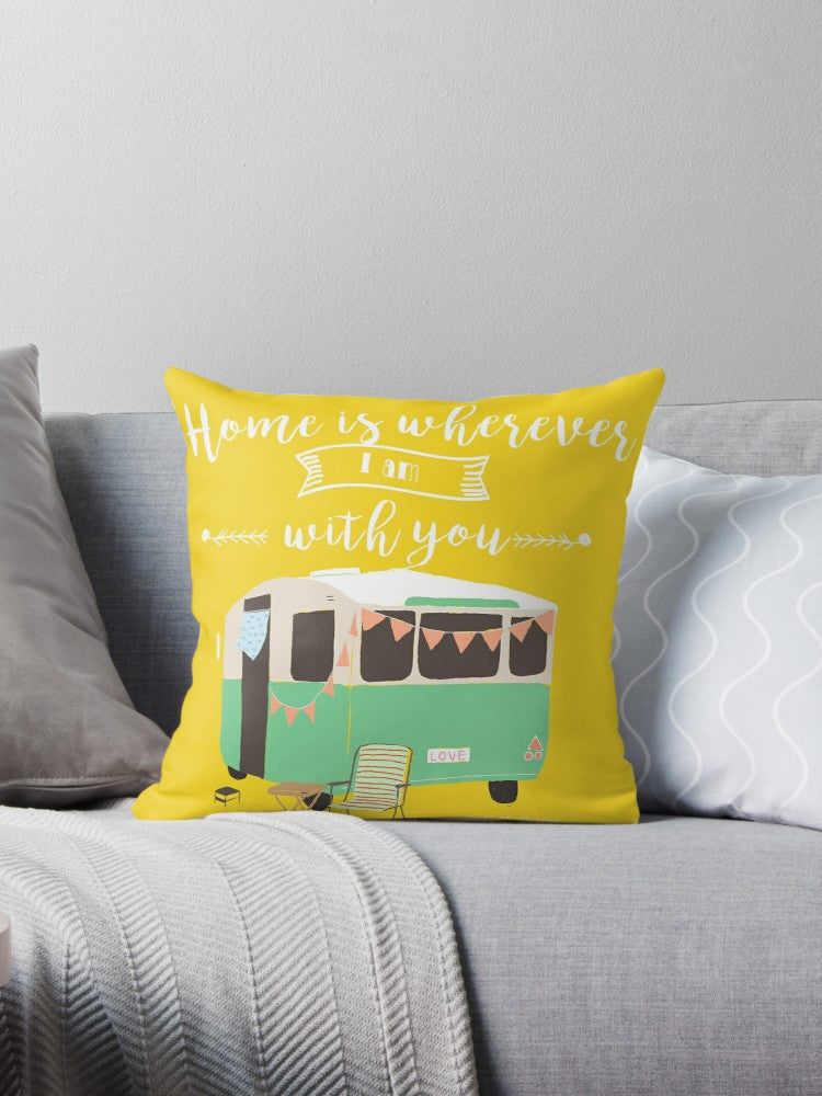 Cushion cover  - Retro Caravan - Home is wherever I am with you
