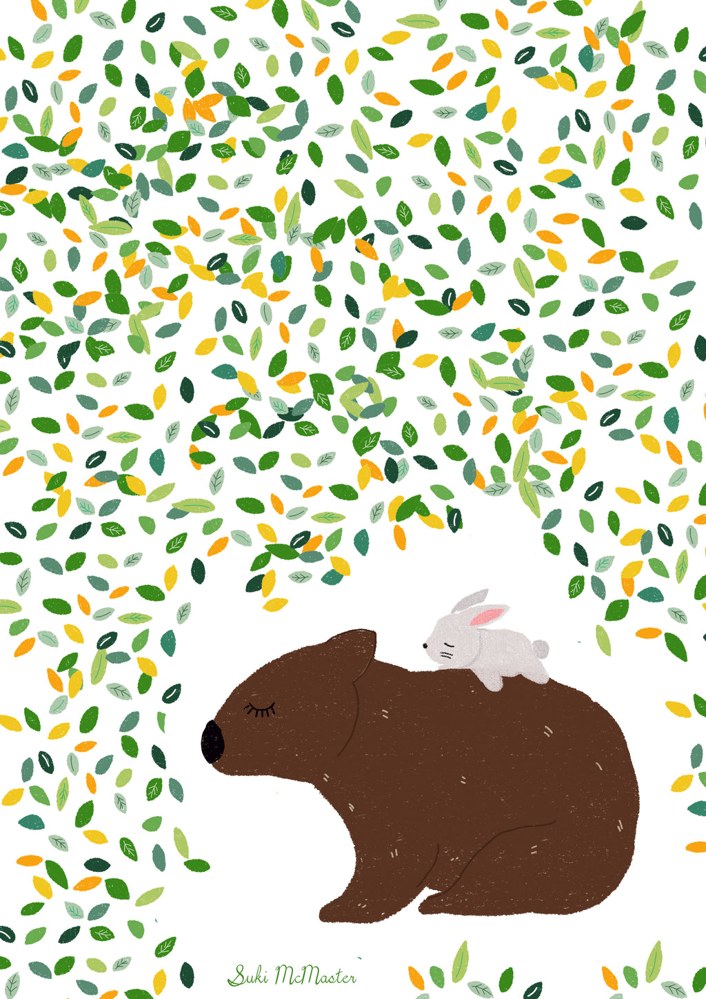 Wall Print - Wombat and rabbit