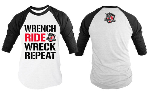 BASEBALL TEE - WRENCH RIDE WRECK REPEAT