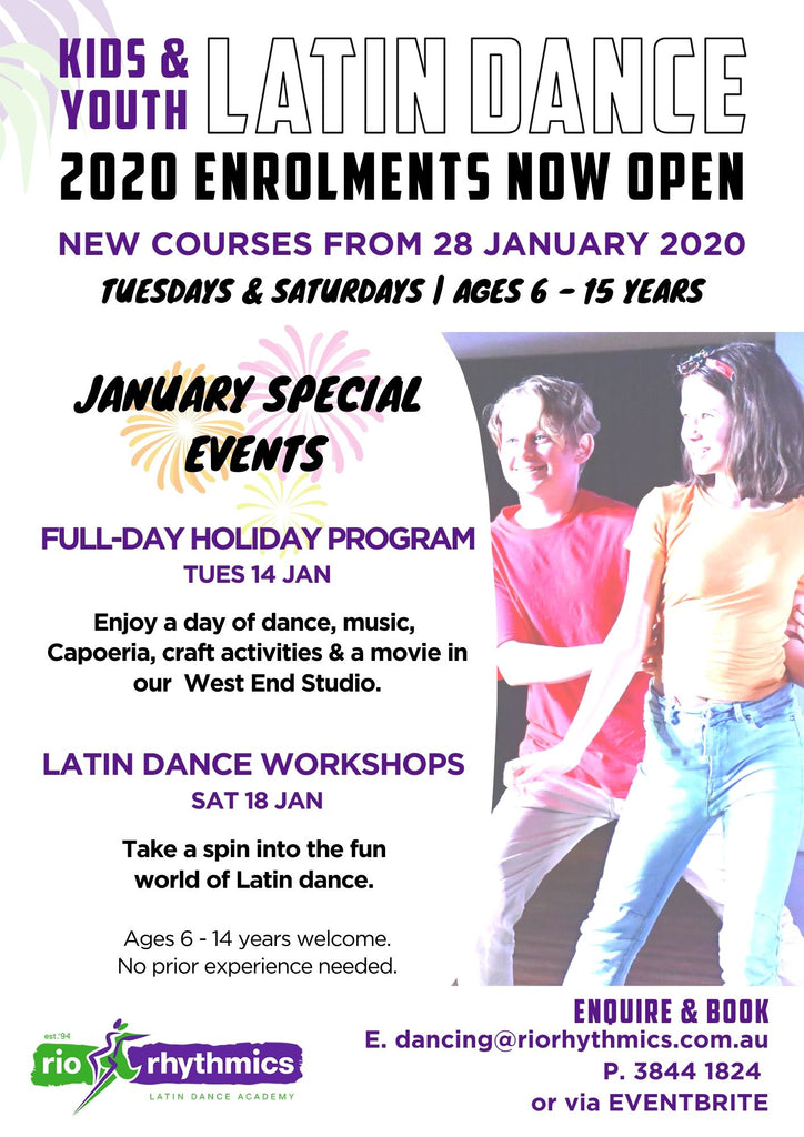 Kids & Youth Latin Dance 2020 Enrolment Open Now. Jan School Holiday Workshops & Camp