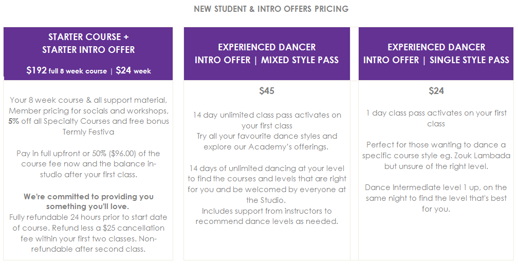 Rio Rhythmics Latin Dance Course Starter Course & Intro Offer Pricing for New Students and Experienced Dancers