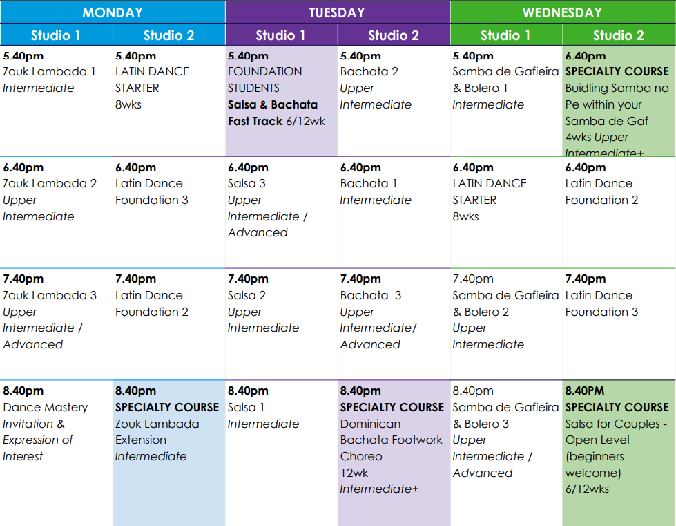Mon-Wed Term 2 Timetable