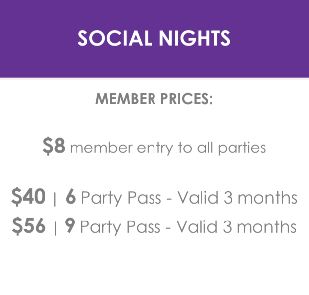 SOCIAL NIGHTS - Member Pricing