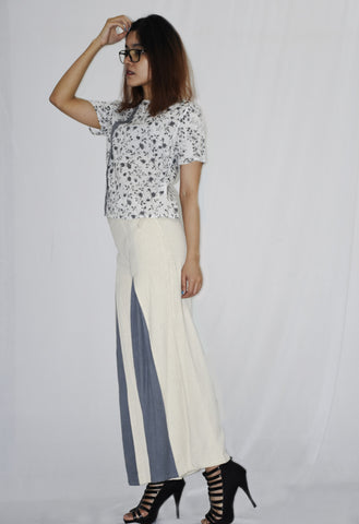 Printed Crop Top with Pleated Loose Fit Trouser