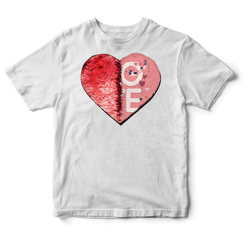 Custom Sequin Kids T-Shirts (Heart)