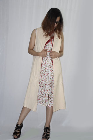 Long Sleeveless jacket with printed short dress