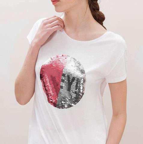 Custom Sequin Women T-Shirt (Circle)