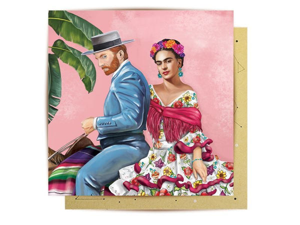 Greeting Card - Frida and Van Gogh in Mexico