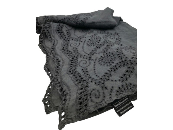 Tablecloth - Linen - Charcoal, Rose Pink
