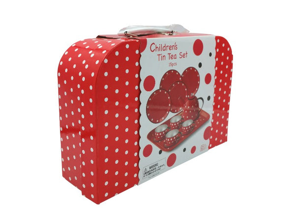 Tea Set - Tin - Red Polka Dot
