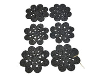 Coasters - Flower - Black - Set of 6