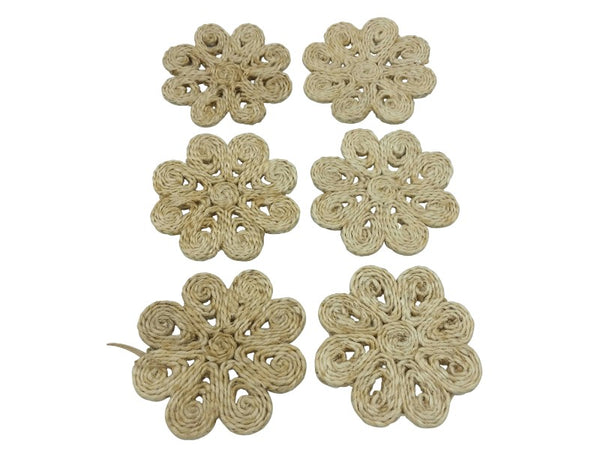 Coasters - Flower - Natural - Set of 6
