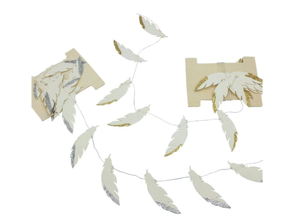 Garland - Paper Feathers - Gold, Silver