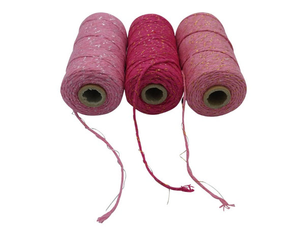 Cotton Twine - Pink, Gold, Silver