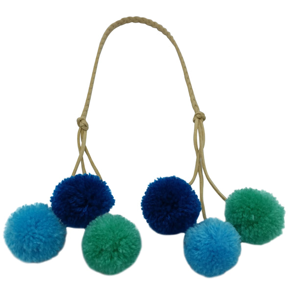 Bag Tie - Pom Pom - Blue/Green