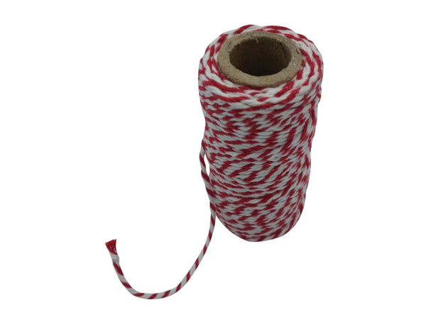 Twine - Cotton - 20m - Red/White