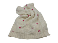 Baby Blanket - Cream - Pink, Grey, Blue