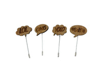 Brooches x 4 - Wooden - Lapel Pin - Lol, Omg, Yolo, #Selfie