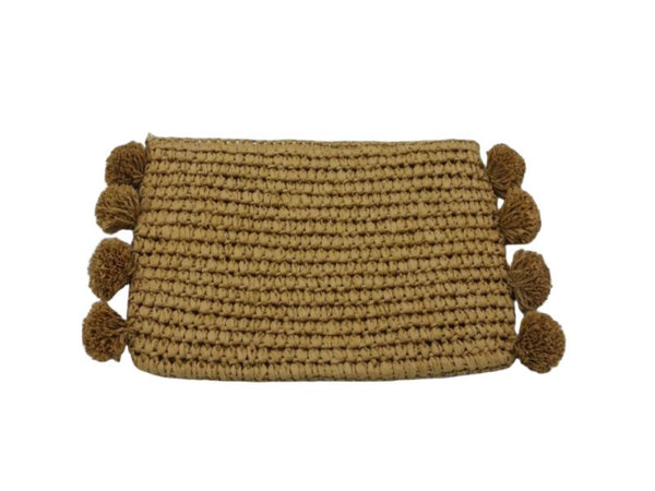 Bag - Clutch - Raffia - Pom Poms
