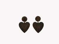 Earrings - Wooden Hearts