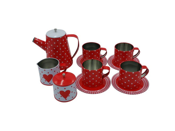 "Tea Set - Tin - ""Coffee"" - Heart - 13 pce"