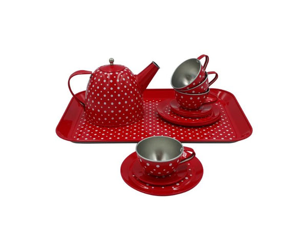Tea Set - Tin - Red Polka Dot - 15 pce