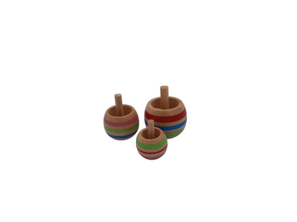 Spinning Top - 3pcs Wood Flip Over Tippie Top