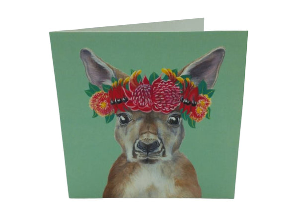 Greeting Card - Roo, Floral Crown