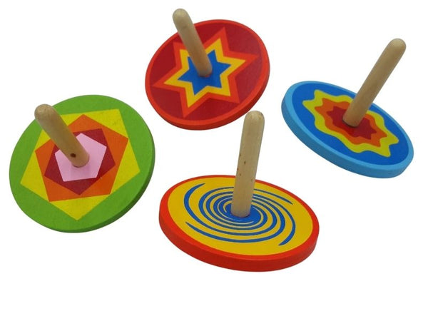 Spinning Top - Wooden - Patterned
