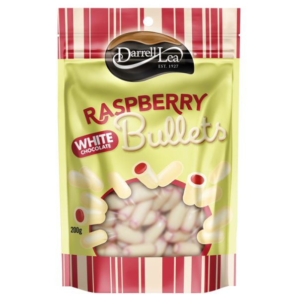 Darrell Lea White chocolate covered Raspberry bullets 200g